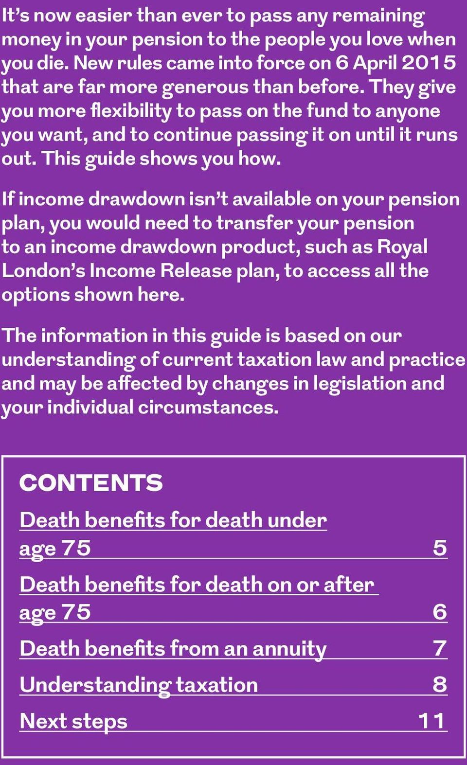 If income drawdown isn t available on your pension plan, you would need to transfer your pension to an income drawdown product, such as Royal London s Income Release plan, to access all the options