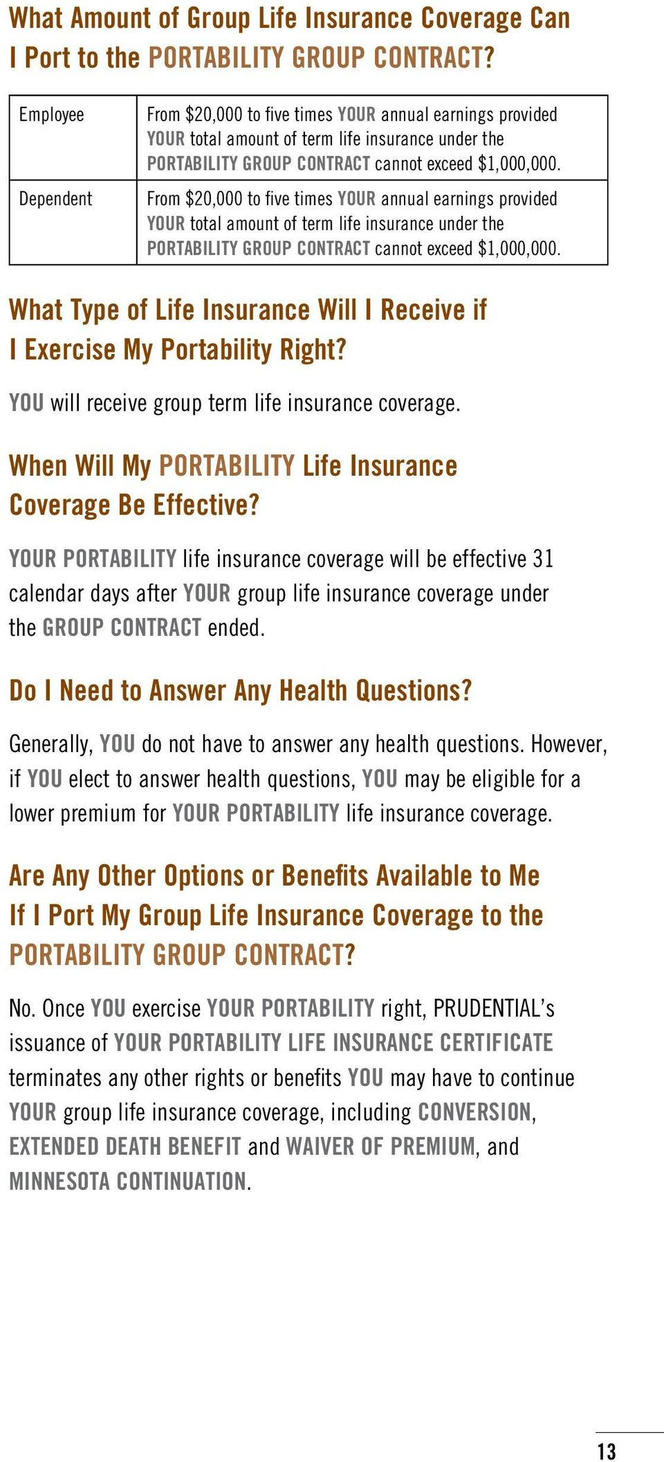 From $20,000 to five times YOUR annual earnings provided YOUR total amount of term life insurance under the PORTABILITY GROUP CONTRACT cannot exceed $1,000,000.