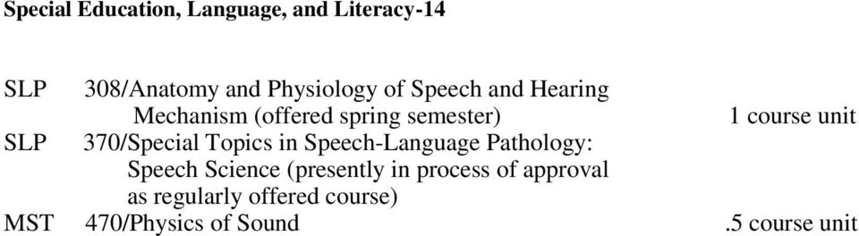Topics in Speech-Language Pathology: Speech Science (presently in process
