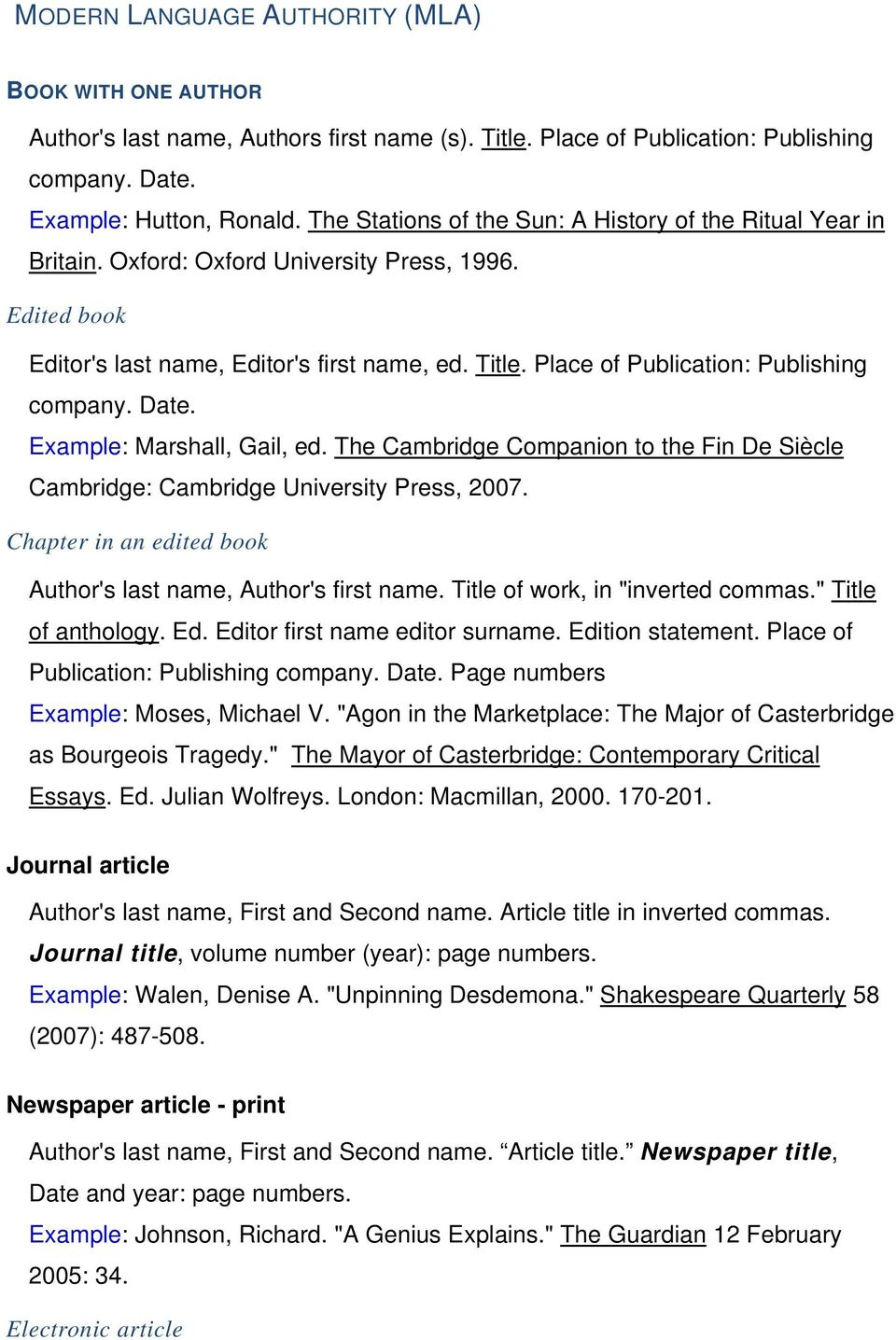 Place of Publication: Publishing company. Date. Example: Marshall, Gail, ed. The Cambridge Companion to the Fin De Siècle Cambridge: Cambridge University Press, 2007.