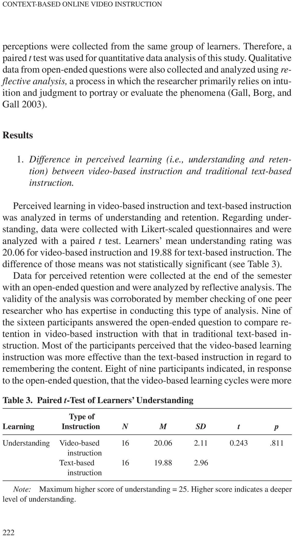 evaluate the phenomena (Gall, Borg, and Gall 2003). Results 1. Difference in perceived learning (i.e., understanding and retention) between video-based and traditional text-based.