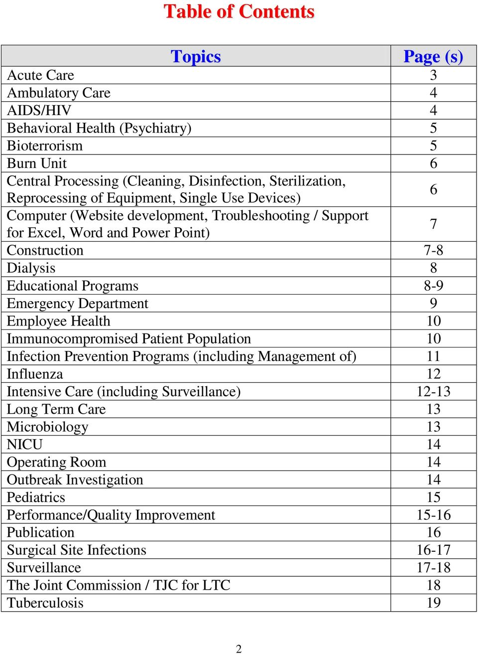 Emergency Department 9 Employee Health 10 Immunocompromised Patient Population 10 Infection Prevention Programs (including Management of) 11 Influenza 12 Intensive Care (including Surveillance) 12-13