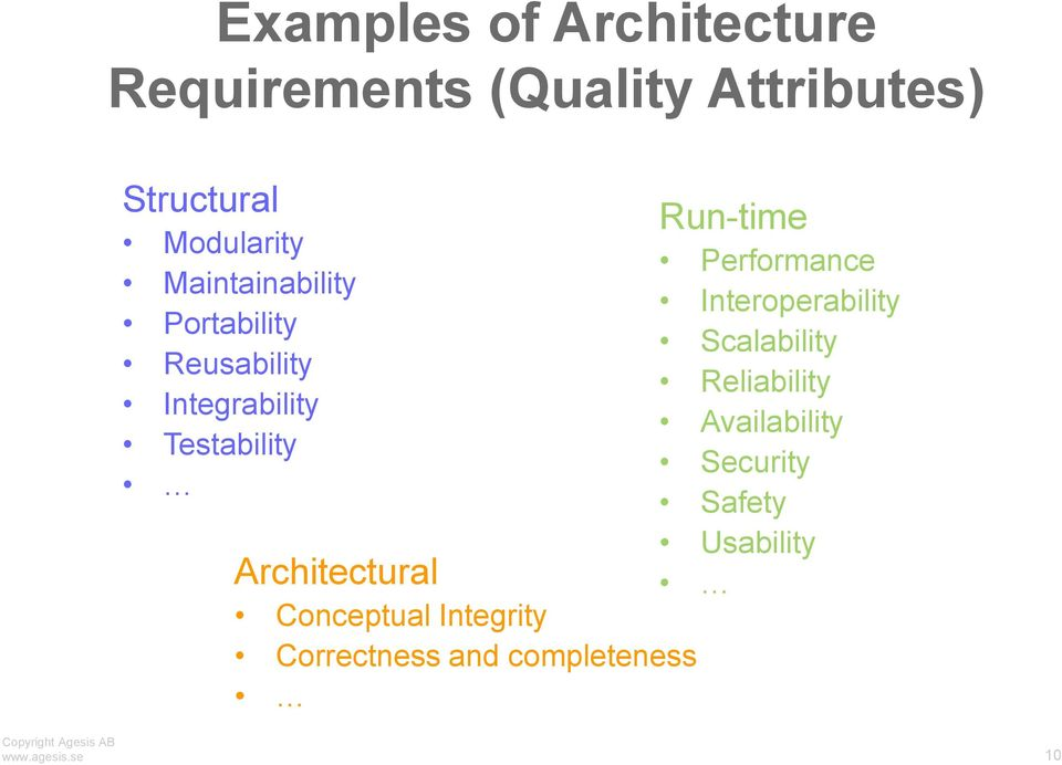 Conceptual Integrity Correctness and completeness Run-time Performance