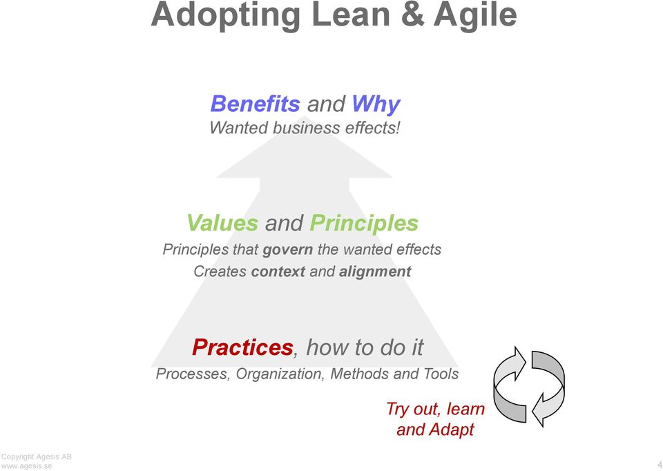 Creates context and alignment Practices, how to do it Processes,