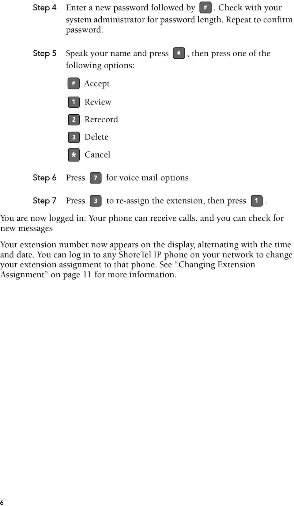 Step 7 Press to re-assign the extension, then press. You are now logged in.