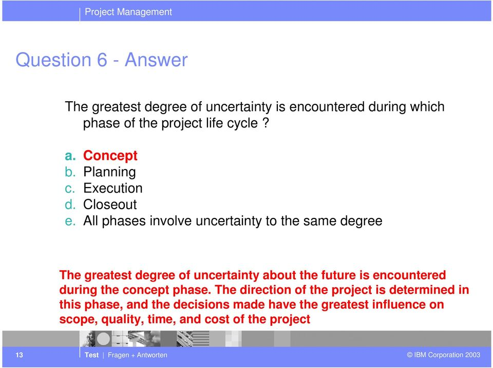 All phases involve uncertainty to the same degree The greatest degree of uncertainty about the future is encountered