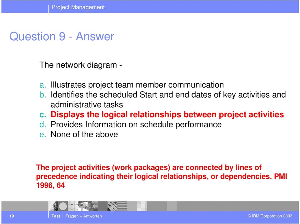 Displays the logical relationships between project activities d. Provides Information on schedule performance e.