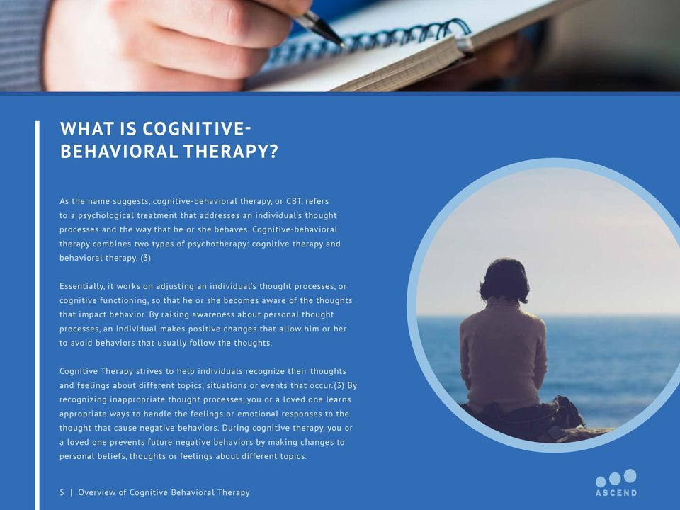 Cognitive-behavioral therapy combines two types of psychotherapy: cognitive therapy and behavioral therapy.