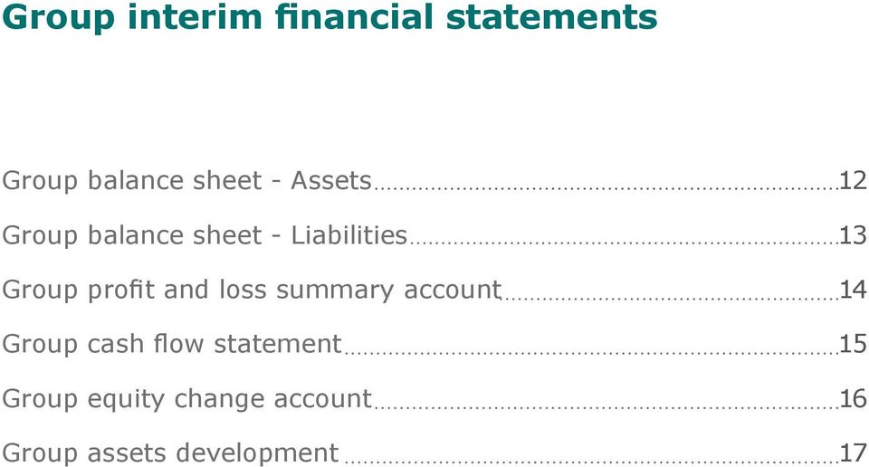 profit and loss summary account 14 Group cash flow