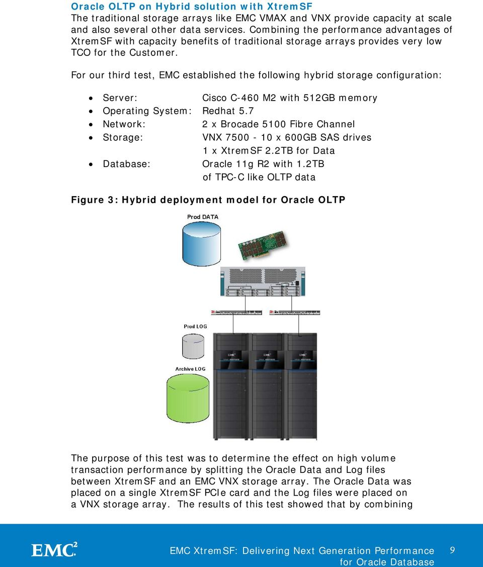 For our third test, EMC established the following hybrid storage configuration: Server: Cisco C-460 M2 with 512GB memory Operating System: Redhat 5.