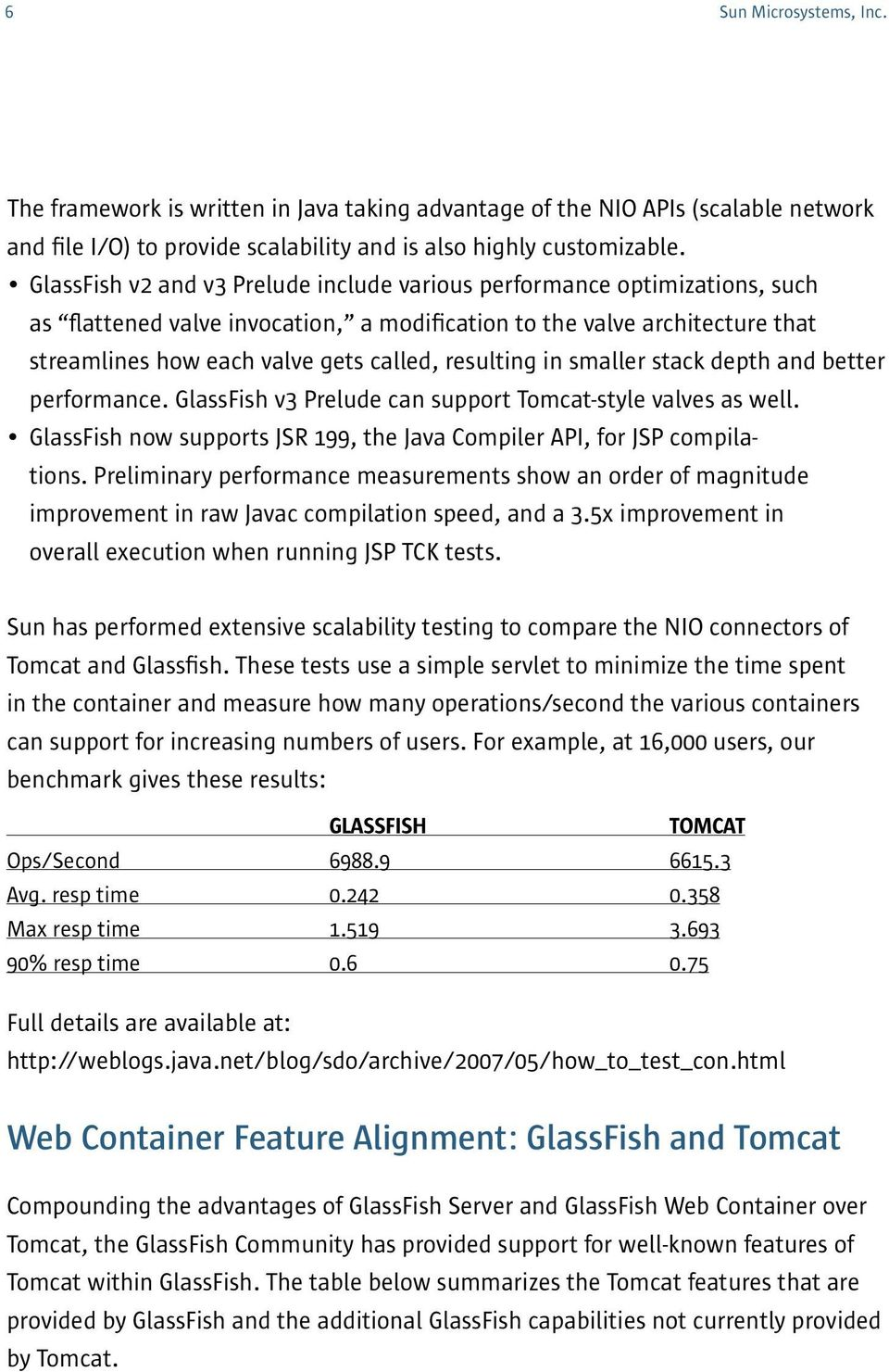 resulting in smaller stack depth and better performance. GlassFish v3 Prelude can support Tomcat-style valves as well. GlassFish now supports JSR 199, the Java Compiler API, for JSP compilations.