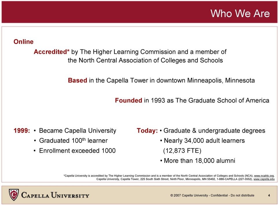 1000 (12,873 FTE) More than 18,000 alumni *Capella University is accredited by The Higher Learning Commission and is a member of the North Central Association of Colleges and Schools (NCA), www.