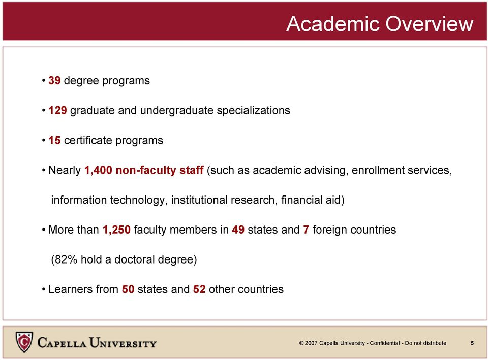 institutional research, financial aid) More than 1,250 faculty members in 49 states and 7 foreign countries (82%