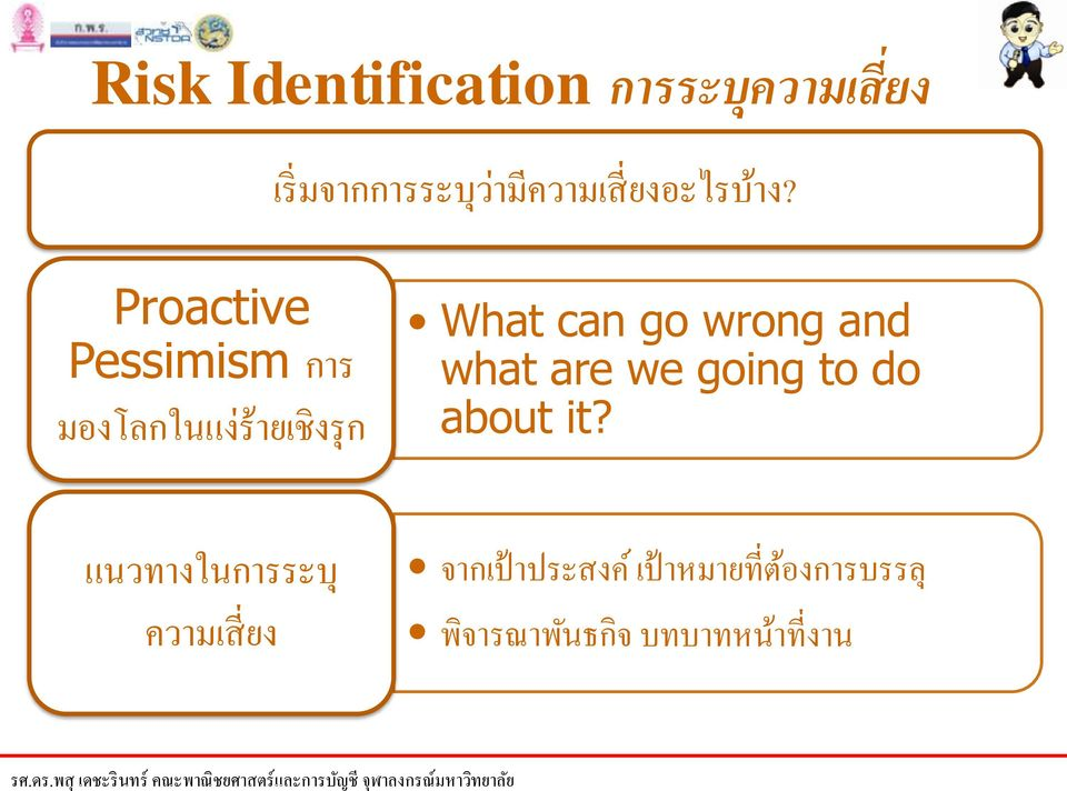 Proactive Pessimism การ มองโลกในแง ร ายเช งร ก What can go wrong
