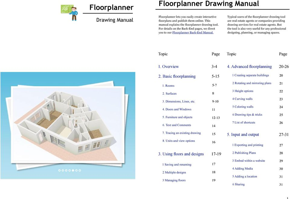 Typical users of the floorplanner drawing tool are real estate agents or companies providing drawing services for real estate agents.