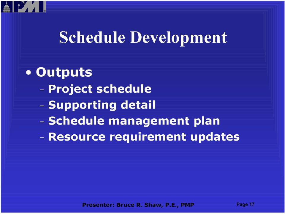 management plan Resource requirement