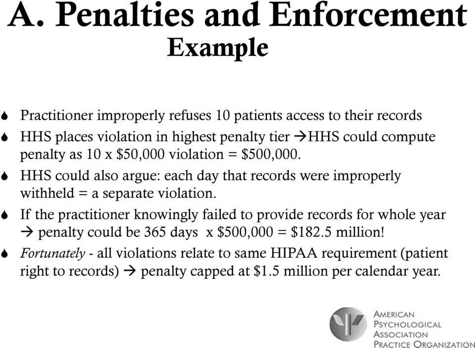 HHS could also argue: each day that records were improperly withheld = a separate violation.