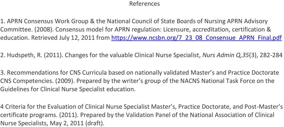 Changes for the valuable Clinical Nurse Specialist, Nurs Admin Q,35(3), 282-284 3. Recommendations for CNS Curricula based on nationally validated Master s and Practice Doctorate CNS Competencies.
