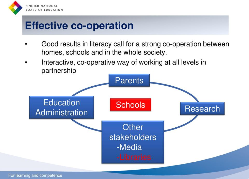 Interactive, co-operative way of working at all levels in partnership