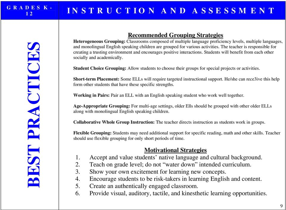 Student Choice Grouping: Allow students to choose their groups for special projects or activities. Short-term Placement: Some ELLs will require targeted instructional support.