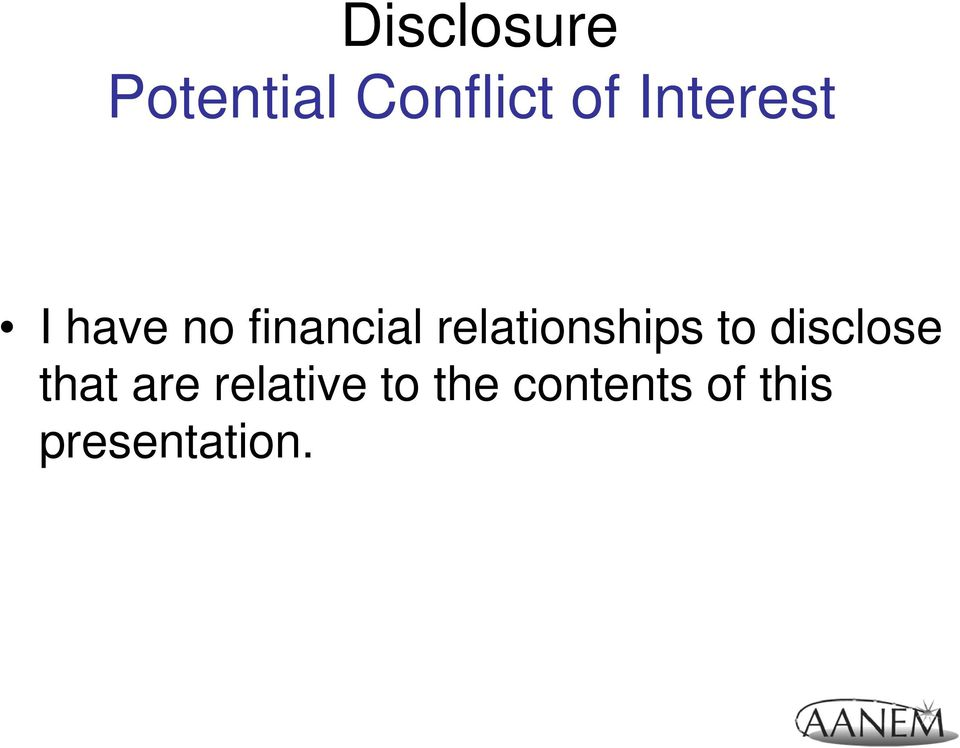 relationships to disclose that are