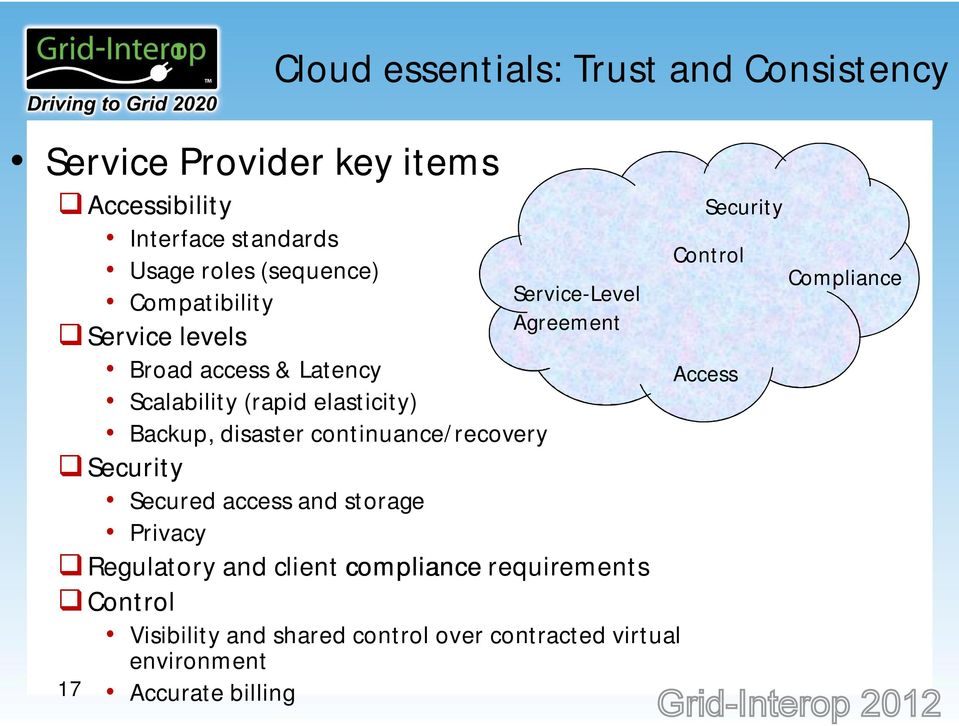 (rapid elasticity) Backup, disaster continuance/recovery Compliance Access Security Secured access and storage Privacy