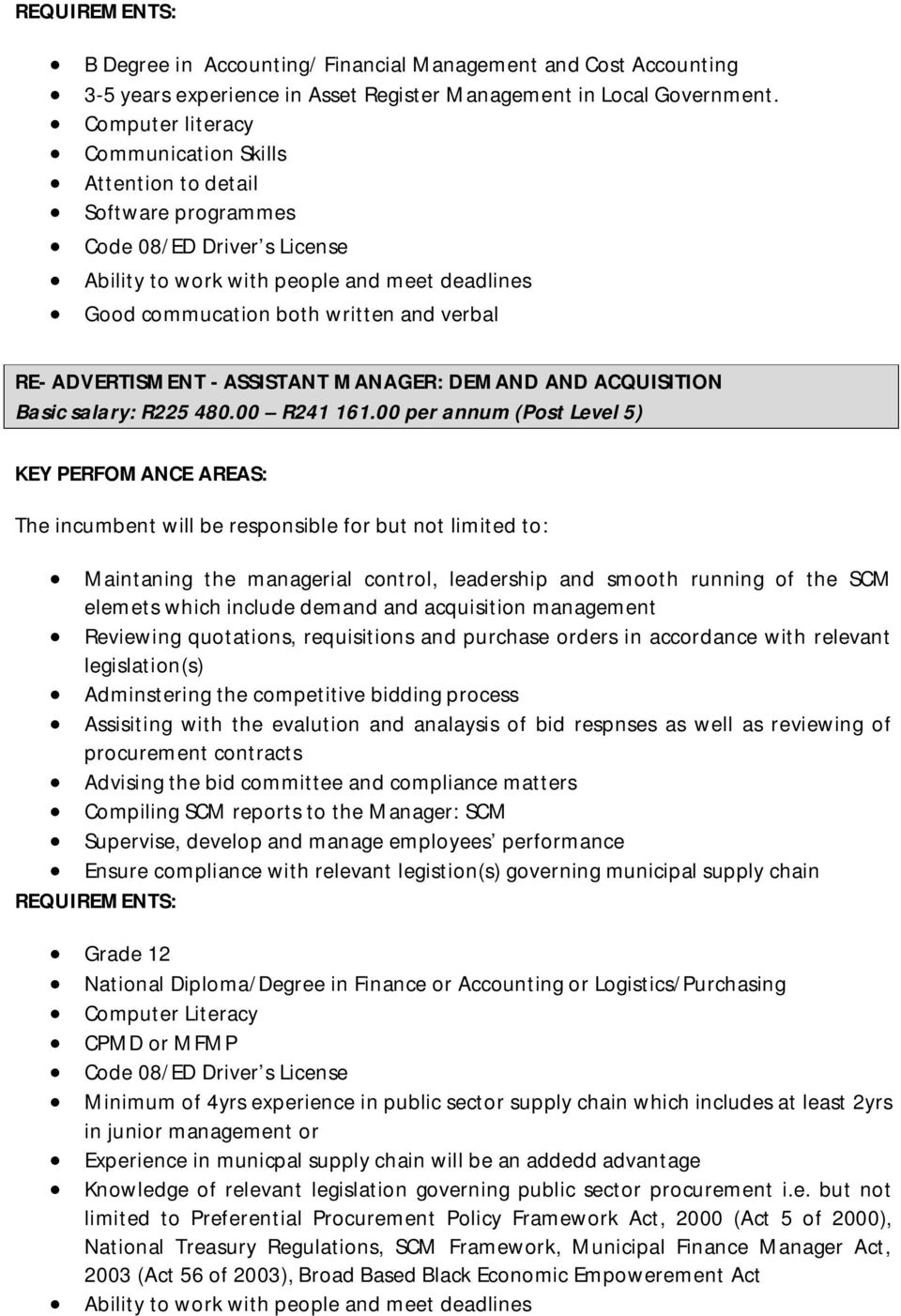 ADVERTISMENT - ASSISTANT MANAGER: DEMAND AND ACQUISITION Basic salary: R225 480.00 R241 161.