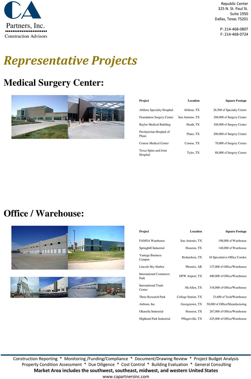 Texas Spine and Joint Hospital Tyler, TX 88,000 sf Surgery Center Office / Warehouse: Project Location Square Footage FAMSA Warehouse San Antonio, TX 198,000 sf Warehouse Springhill Industrial