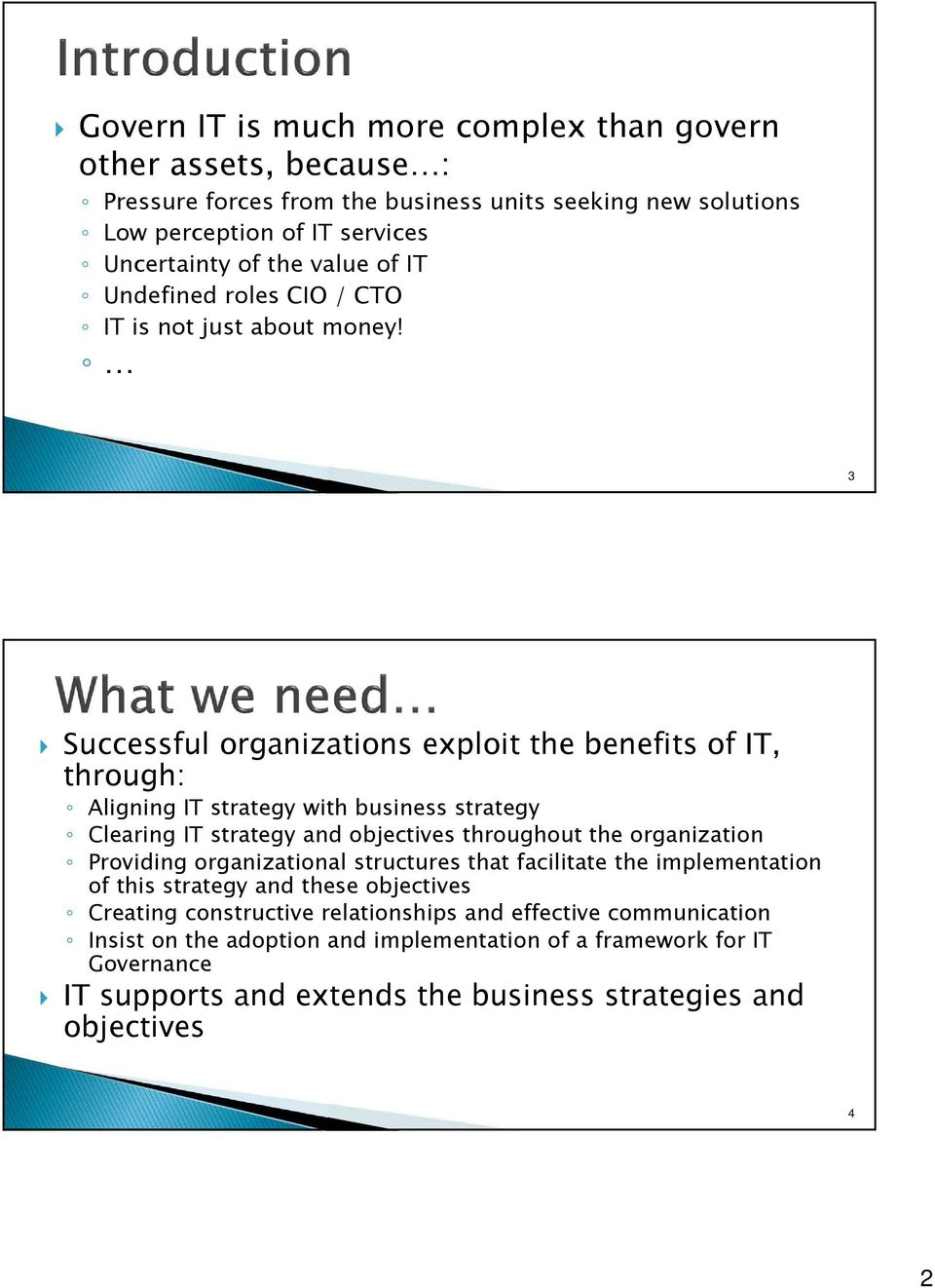 3 Successful organizations exploit the benefits of IT, through: Aligning IT strategy with business strategy Clearing IT strategy and objectives throughout the organization Providing