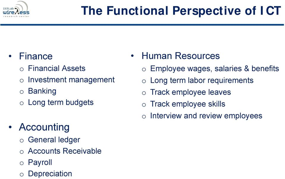 o Depreciation Human Resources o Employee wages, salaries & benefits o Long term labor