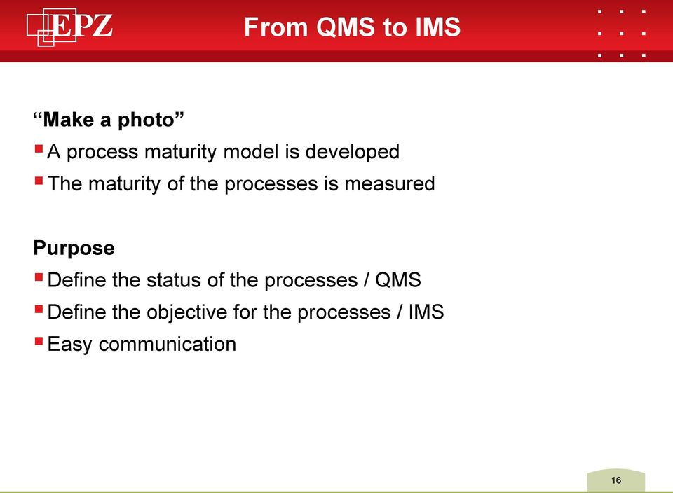 Define the status of the processes / QMS Define the