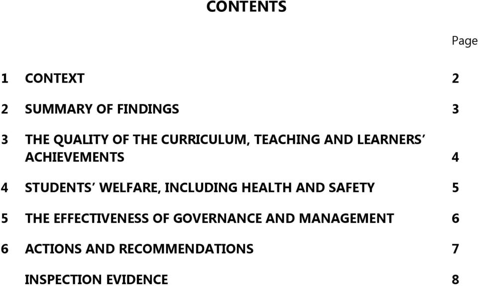 WELFARE, INCLUDING HEALTH AND SAFETY 5 5 THE EFFECTIVENESS OF