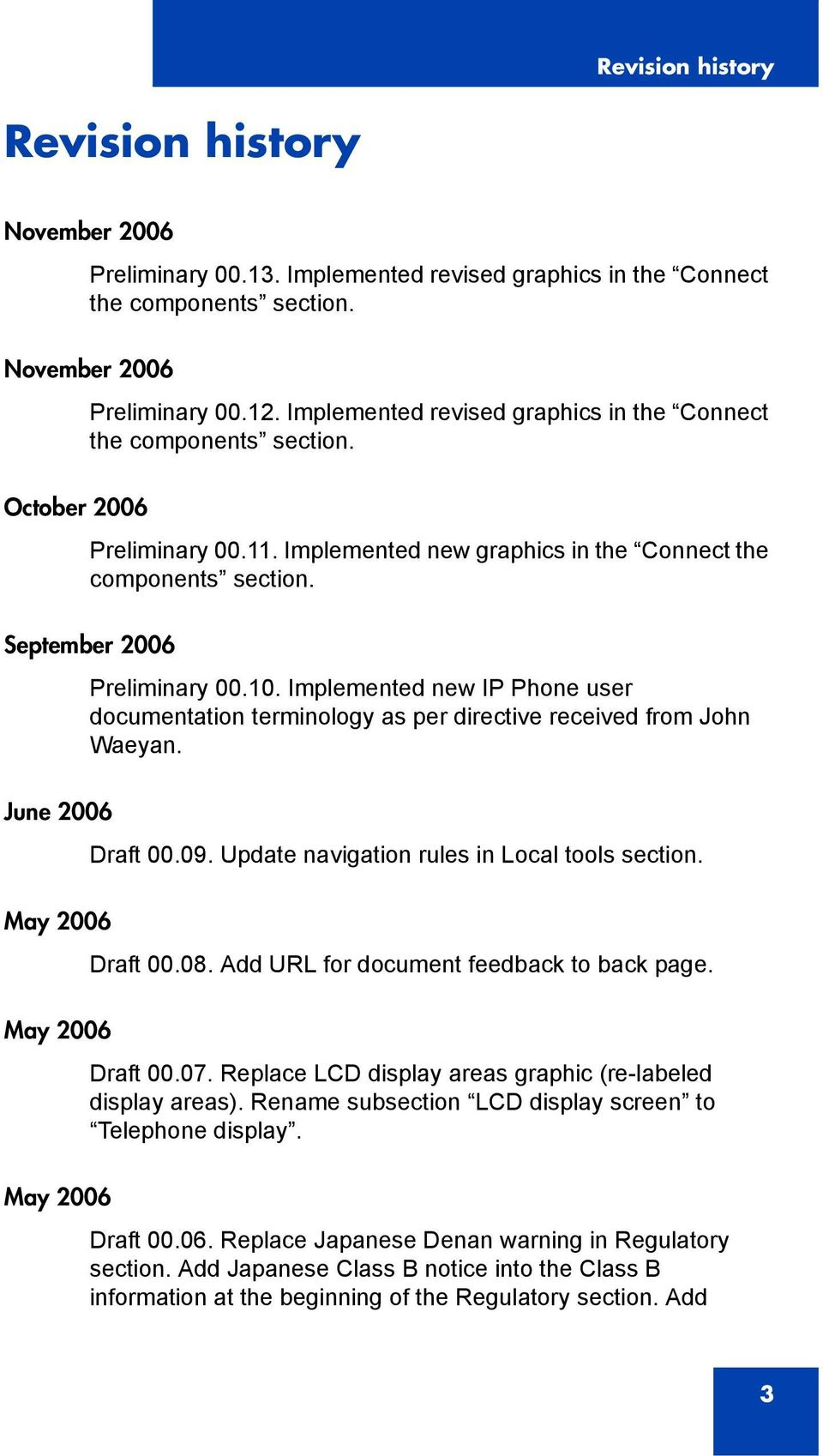 Implemented new IP Phone user documentation terminology as per directive received from John Waeyan. June 2006 Draft 00.09. Update navigation rules in Local tools section. May 2006 Draft 00.08.