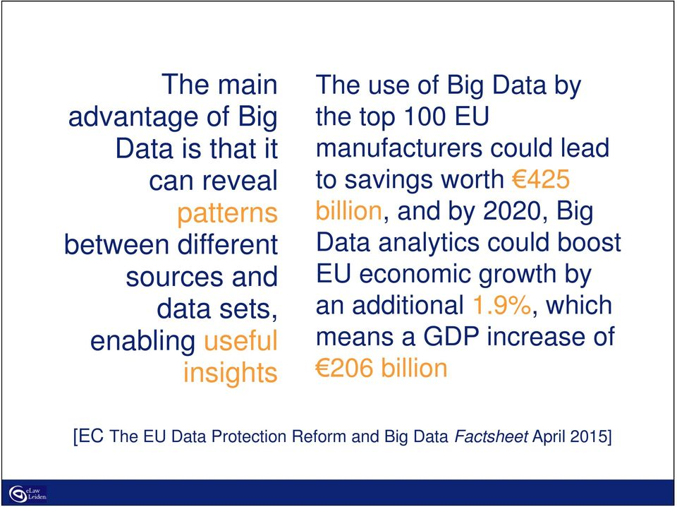 425 billion, and by 2020, Big Data analytics could boost EU economic growth by an additional 1.