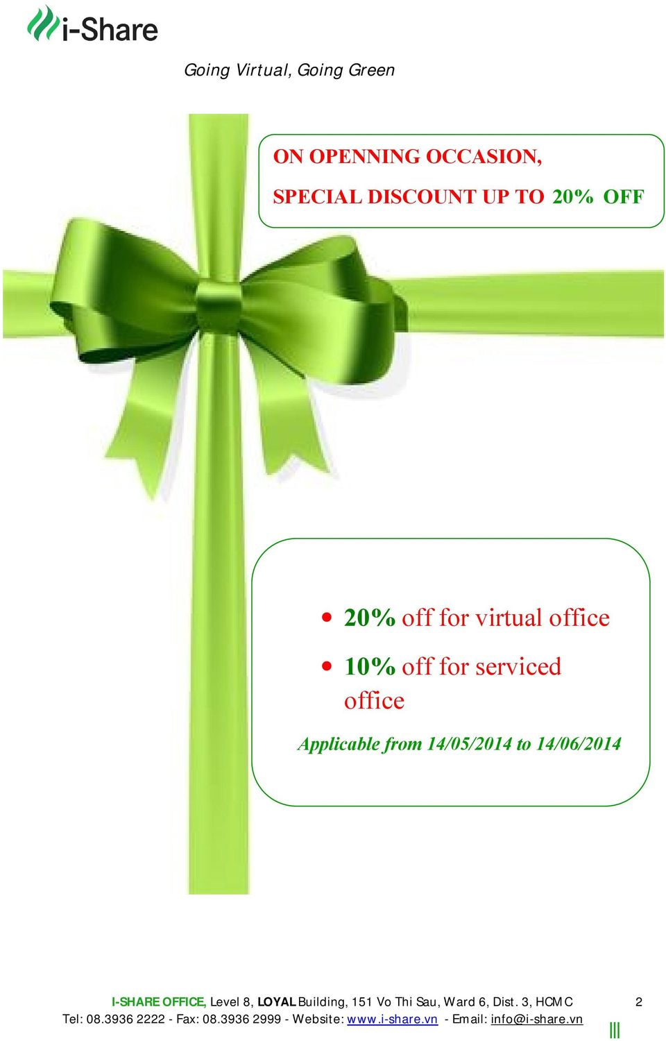 virtual office 10% off for serviced