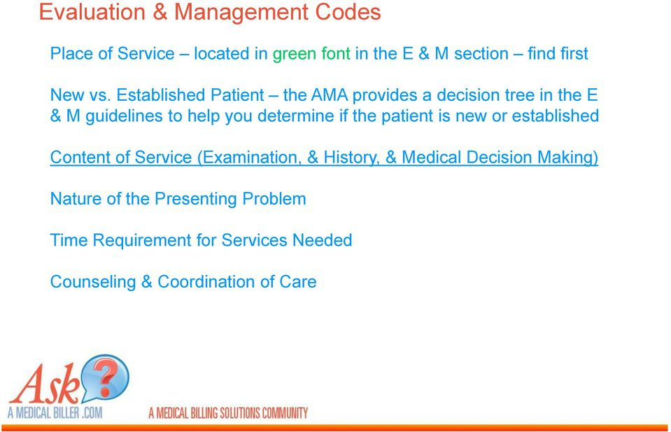 if the patient is new or established Content of Service (Examination, & History, & Medical Decision