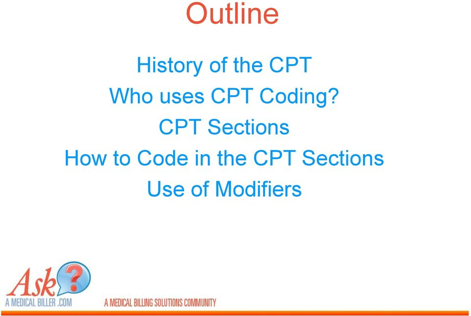 CPT Sections How to Code in