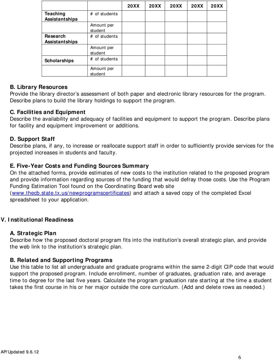 Facilities and Equipment Describe the availability and adequacy of facilities and equipment to support the program. Describe plans for facility and equipment improvement or additions. D. Support Staff Describe plans, if any, to increase or reallocate support staff in order to sufficiently provide services for the projected increases in students and faculty.
