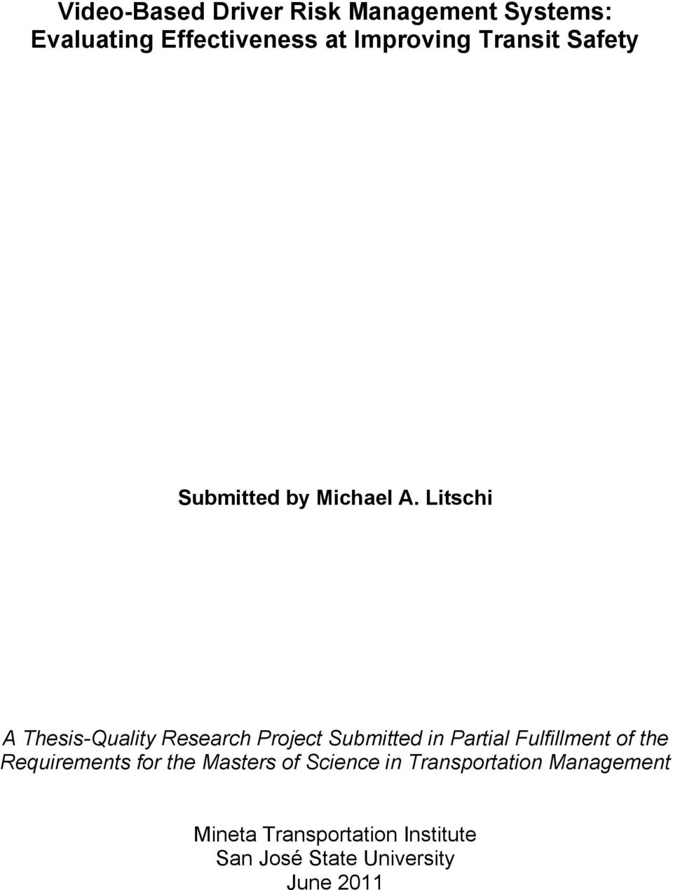 Litschi A Thesis-Quality Research Project Submitted in Partial Fulfillment of the