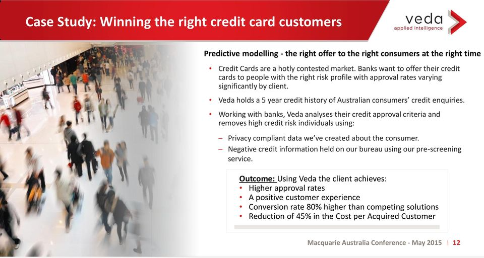 Veda holds a 5 year credit history of Australian consumers credit enquiries.