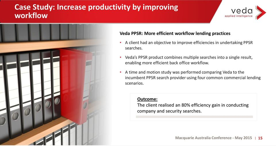 Veda s PPSR product combines multiple searches into a single result, enabling more efficient back office workflow.