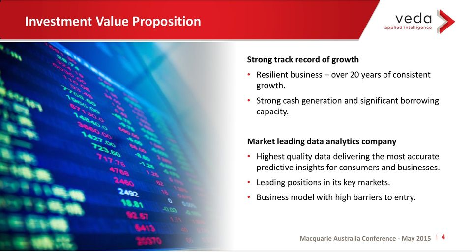 Market leading data analytics company Highest quality data delivering the most accurate predictive