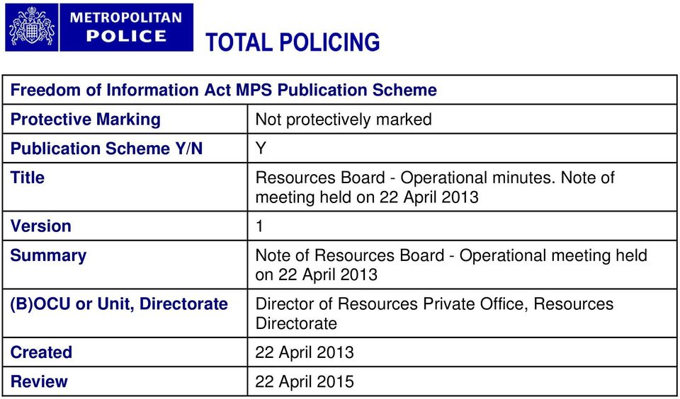 April 2015 Y Resources Board - Operational minutes.