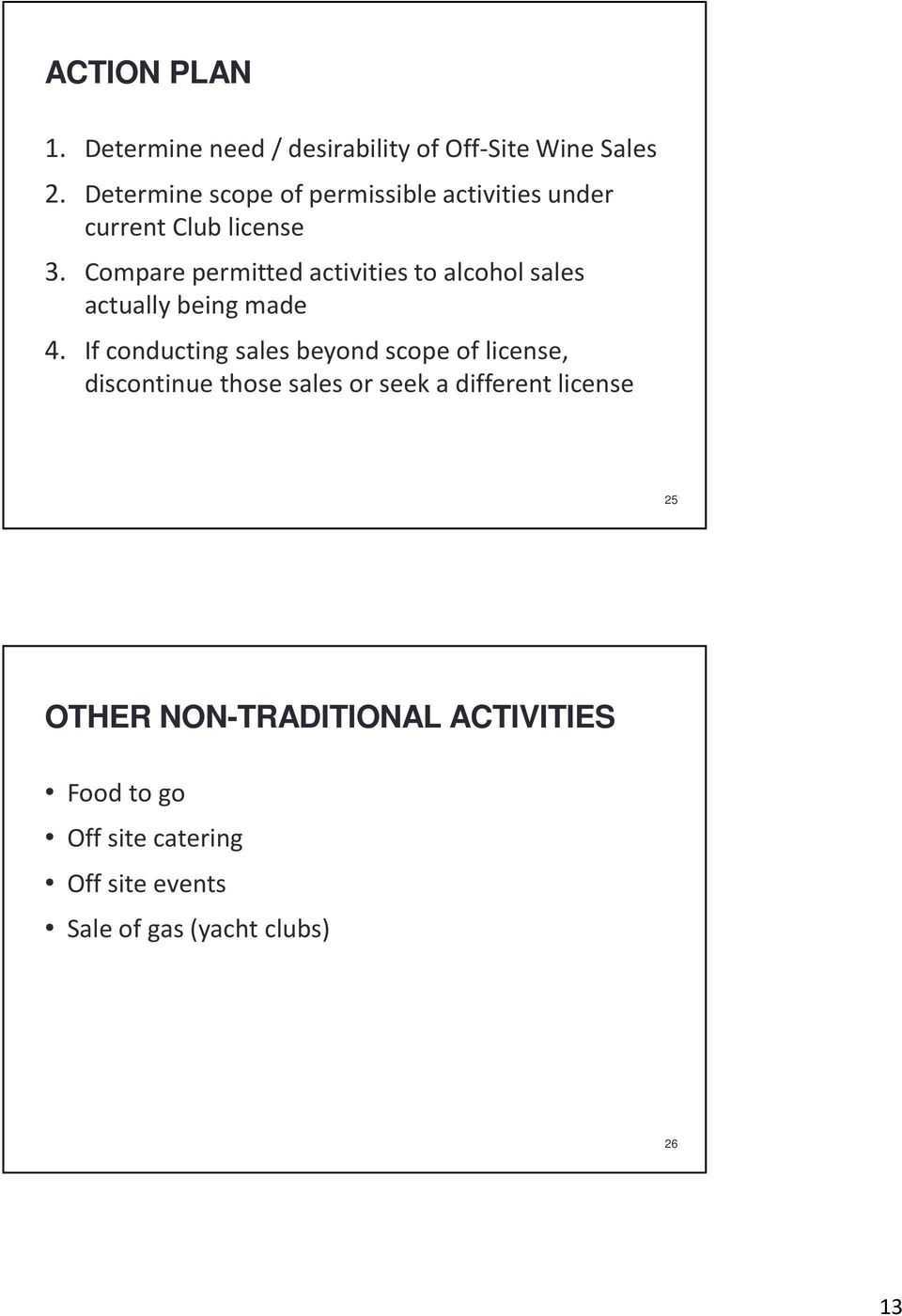Compare permitted activities to alcohol sales actually being made 4.