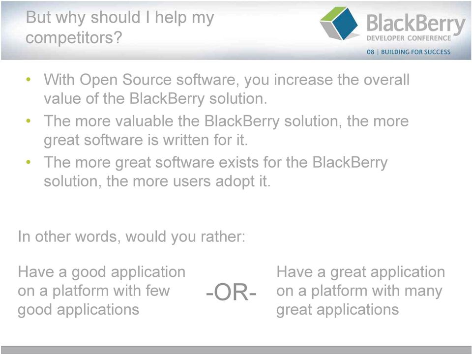 The more valuable the BlackBerry solution, the more great software is written for it.