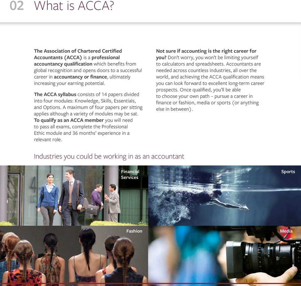 finance, ultimately increasing your earning potential. The ACCA syllabus consists of 14 papers divided into four modules: Knowledge, Skills, Essentials, and Options.