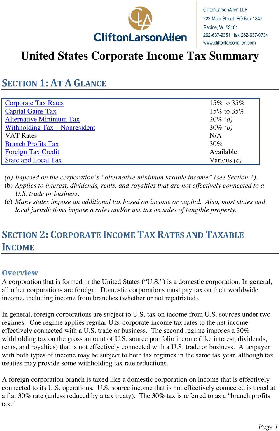 Local Tax Available Various (c) (a) Imposed on the corporation s alternative minimum taxable income (see Section 2).