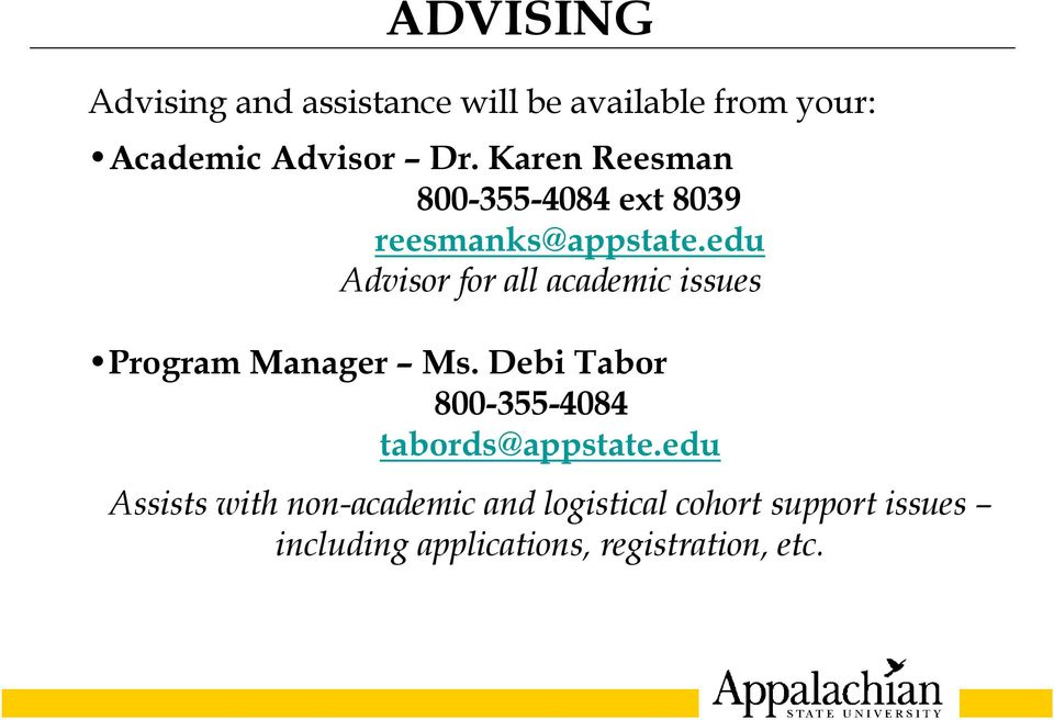 edu Advisor for all academic issues Program Manager Ms.