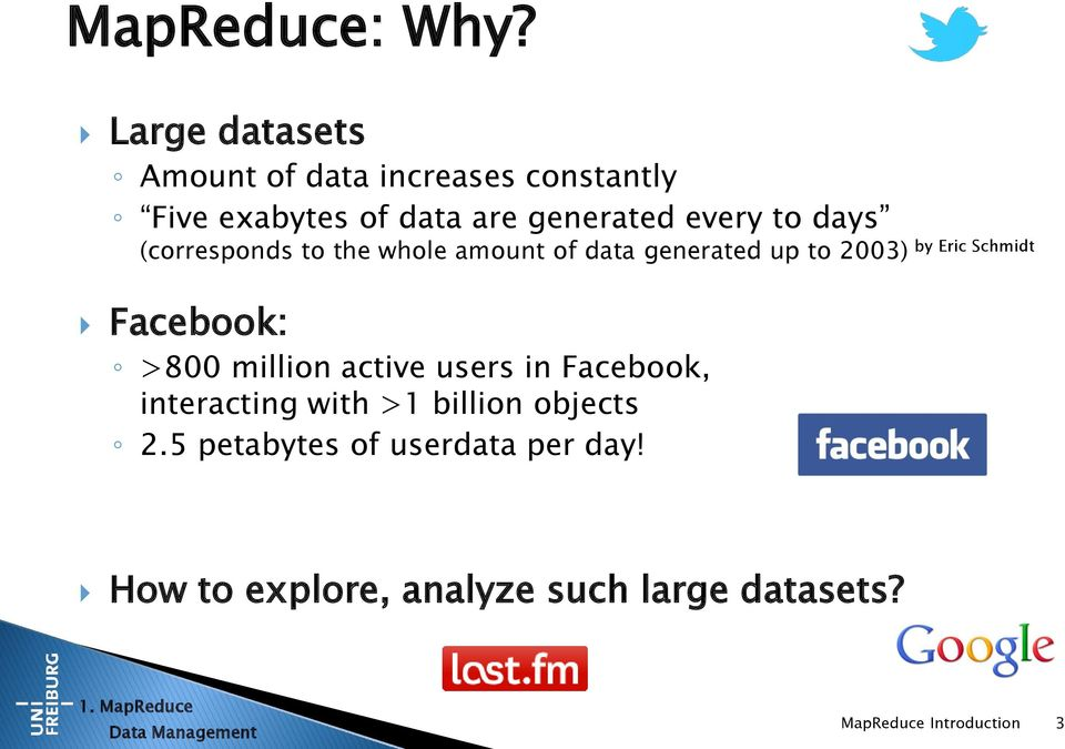 (corresponds to the whole amount of data generated up to 2003) by Eric Schmidt Facebook: >800 million