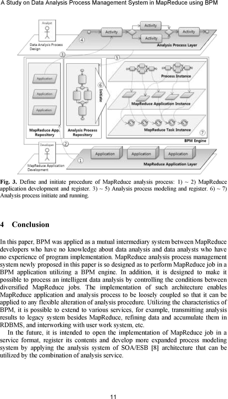 4 Conclusion In this paper, BPM was applied as a mutual intermediary system between MapReduce developers who have no knowledge about data analysis and data analysts who have no experience of program